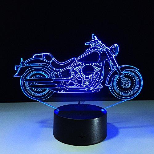 Motorfiets 3D Illusie Lamp, LED 3D Nachtlampje 7 Kleuren veranderen, met afstandsbediening met USB-kabel voor Kerstmis Verjaardag Kindergeschenken, Slaapkamer Decoratie, Office Decoratie