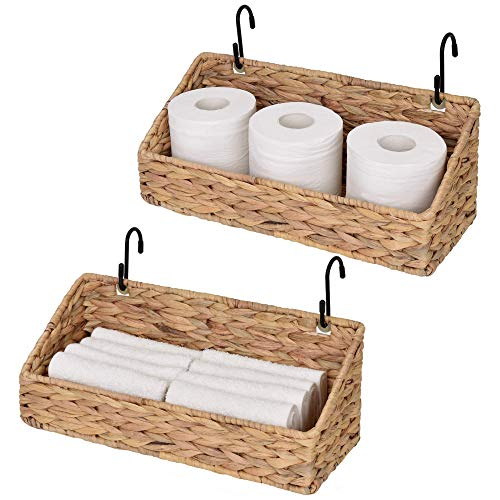 StorageWorks Woven Wall Baskets for Storage, Water Hyacinth Baskets for Shelf, Wall Storage for Kitchen and Bathroom, Hanging Baskets for Organizing, 15