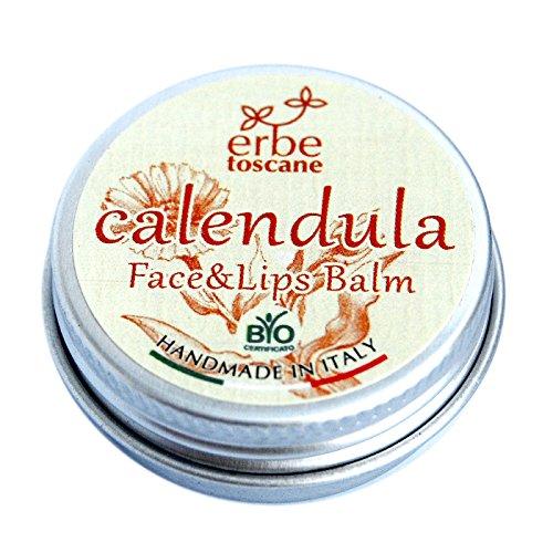 Baume BIO au CALENDULA - Excellent pour le Visage et les Lèvres, les Mains gercées et la Peau sèche - Pur concentré naturel – Produit artisanal de Italie (10 ML)