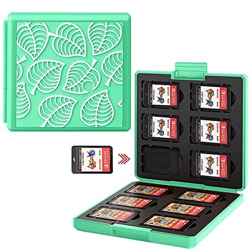 Genrics Funda de Juegos Compatible con Nintendo Switch con 12 Ranuras para Almacenamiento de Tarjetas de Juego y 12 Ranuras para Tarjetas SD, Estuche para Nintendo Switch Lite NS (Hoja Verde)