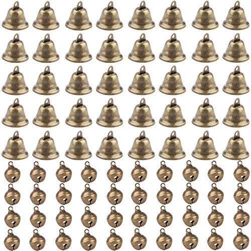 Fiyuer Vintage Glocke 80 Pcs messingglocke glöckchen Bronze Mini Glocken zum basteln für Wind Glockenspiel Machen Handwerk Dekorationen