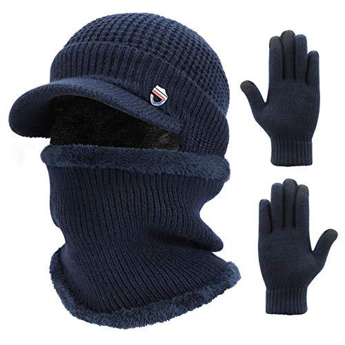 TAGVO 3 w 1 zimowa czapka beanie szalik rękawiczki zestaw z ogrzewaczem do uszu, uniseks podszewka wewnętrzna z polaru elastyczna ciepła dzianinowa czapka beanie ocieplacz na szyję rękawiczki z ekranem dotykowym, zestawy akcesoriów do biegania jazdy