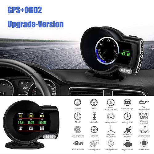 Auto Head Up Display OBD GPS, HUD Display OBD2, iKiKin Car Digital Dash LCD-Display mit mehreren Messgeräten HUD Gauge Boost EGT Diagnose Tester