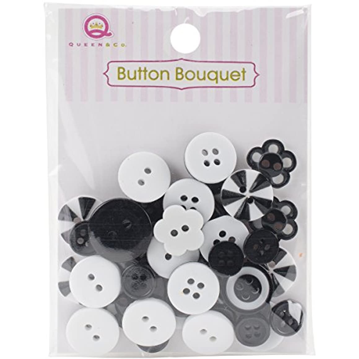 Queen & Co Button Bouquet Assorted Color Size and Shaped Buttons (36 Pack), Black