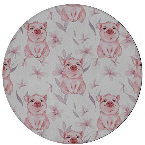JINCAII Teppich für Wohnzimmer Dummes Schwein Kopf Kinder Teppich Esszimmer 2ft Runde rutschfeste...