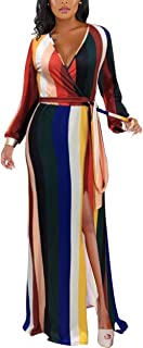 IyMoo Boho Flowy Long Dresses for Women - Rainbow Stripes Deep V Neck Sexy Bodycon Dress High Split with Belt