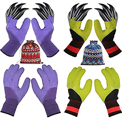 4 Pairs Garden Gloves With Fingertips Claws,Best Gift For Gardener,2 Pairs Working Genie Gloves With Double Claws,2 Pairs without Claws,For Digging and Planting,Breathable. (4 pairs purple and green) from ShirlyYong