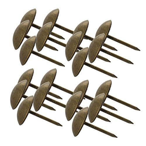MroMax Polsternägel, 1,4 cm Kopfdurchmesser, antike runde Daumennadeln für Möbel, Sofa, Kopfteile, Grün, Patina-Ton, 120 Stück