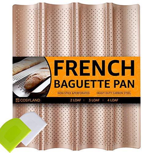 COSYLAND Bandeja Perforada para Baguette 4 Ondas Pan Francés Hornear, Molde Antiadherente + Raspador de Masa, Utensilios de Cocina para Panaderos Profesionales (oro)