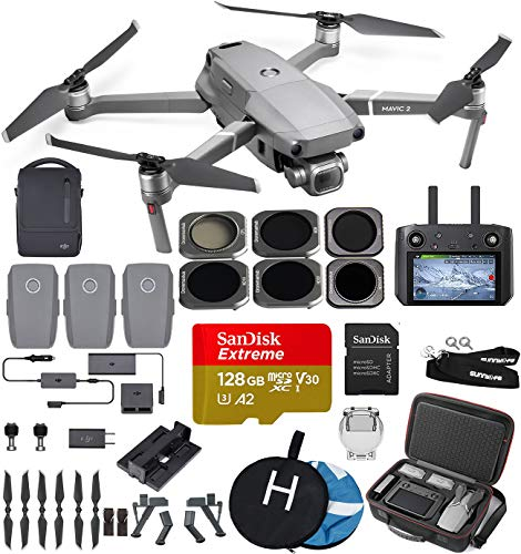 DJI Mavic 2 Pro (20 MP Hasselblad Camera) with Smart Controller and Fly More Kit Ultimate Bundle (3 Batteries, ND Filters, 128 GB Extreme Card, Charging Hub and More)