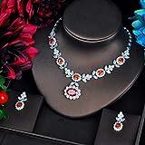 chushi Forme Conjuntos De Joyería CZ Rojos para Mujer Collar Conjunto Accesorios Flor DesignJewely Regalos Zzib (Color : Platinum Plated)