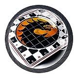Tablero de ajedrez Dragón Patrón 4 piezas Tiradores de perillas de cristal tiradores tiradores de cajón manija de cocina con tornillo Mejor regalo de cumpleaños Festival de regalo para niños 3.5×2.8cm