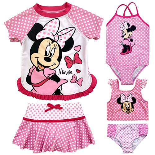 Disney Minnie Mouse Little Girls Swimsuit Set: Rash Guard Bikini Skirt One-Piece 6X