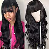 Body Wave Wigs With Bangs Virgin Brazilian None Lace Front Wigs Human Hair Wigs 130% Density Glueless Machine Made Wigs For Black Women (22 inch, body wave)