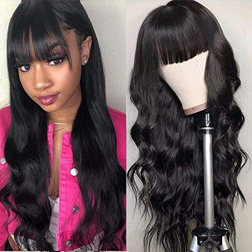 Body Wave Wigs With Bangs Virgin Brazilian None Lace Front Wigs Human Hair Wigs 130% Density Glueless Machine Made Wigs For Black Women (18 INCH,Body Wave)