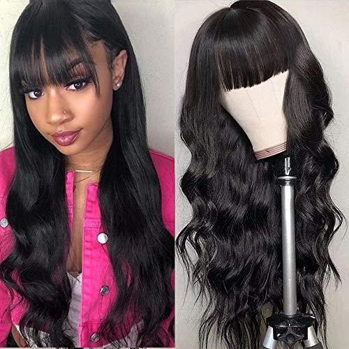 Body Wave Wigs With Bangs Virgin Brazilian None Lace Front Wigs Human Hair Wigs 130% Density Glueless MachineMadeWigsForBlack Women(18 inch, Body wave)