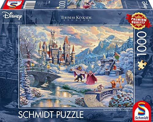 Schmidt Spiele 59671 Thomas Kinkade, Disney, Die Schöne und das Biest, Zauberhafter Winterabend, 1000 Teile Puzzle, Bunt