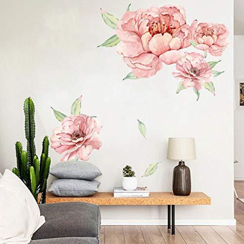 Moent Wandaufkleber, Pfingstrose Rose Blumen Wandkunst Aufkleber Abziehbilder Kinderzimmer Kinderzimmer Home Decor Geschenk, Wandaufkleber