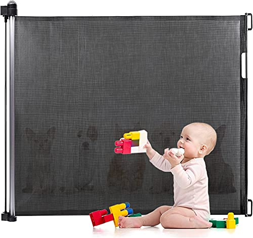 Baby Gate, Eccomum Retractable Baby Gate, Pet Gate, Baby Dog Gates for Doorways Gates for Kids or Pets, Extends to 55' Wide, Extra Wide Safety Mesh Baby Gates for Stairs, Hallways (Black)