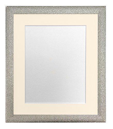 FRAMES DOOR POST Glitz Champagne Zilver Foto Frame met Ivoor Mount 20 x 16 Beeldgrootte 16 x 12 Inch Kunststof Glas