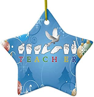 Rutehiy Christmas Tree Decorations Teacher ASL Sign Language Fingerspelled Ceramic Ornament Star Christmas Ornament Crafts Xmas Gift