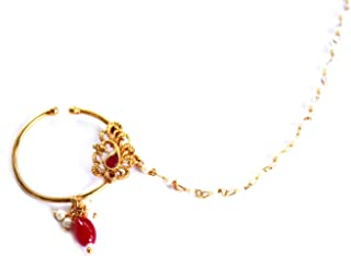 Glamorous Collection Bridal Gold Ruby Crystal Nose To Ear Ring Bollywood Wedding Nose Nath Chain