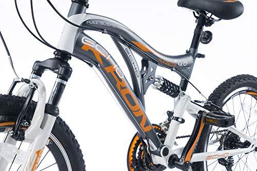 KRON ARES 4.0 Vollgefedertes Kinder Mountainbike 20 Zoll ab 6, 7, 8, 9 Jahre | 21 Gang Shimano Kettenschaltung mit V-Bremse | Kinderfahrrad 14 Zoll Rahmen Vollfederung | Grau Orange - 4