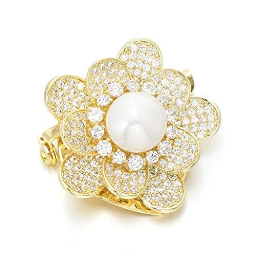 LSJT Blumen-Elegante Brosche Damenkleidung Accessoires Perlen Bust Garland Schal Schal Schnalle Dual-Purpose Eckdekoration Pin