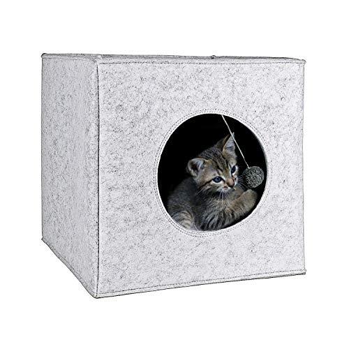 Cama Cueva para Gatos con cojín extra grueso. Casa de fieltro para ma