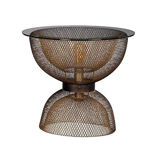 LIUTIAN Mesa de centro de reloj de arena, mesa de la esquina de la luz de la noche, mesa de centro de vidrio de sala de estar, Luz retro Lujo, 45x35x50cm