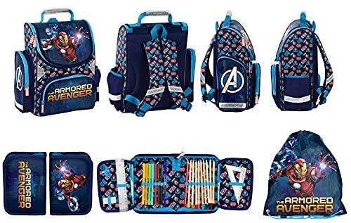 Avengers Marvel Schulranzen Set 3 TLG. inkl. Federmäppchen, Sportbeutel für Jungen 1 Klasse | Tornister Schultasche | super leicht | ergonomisch und anatomisch