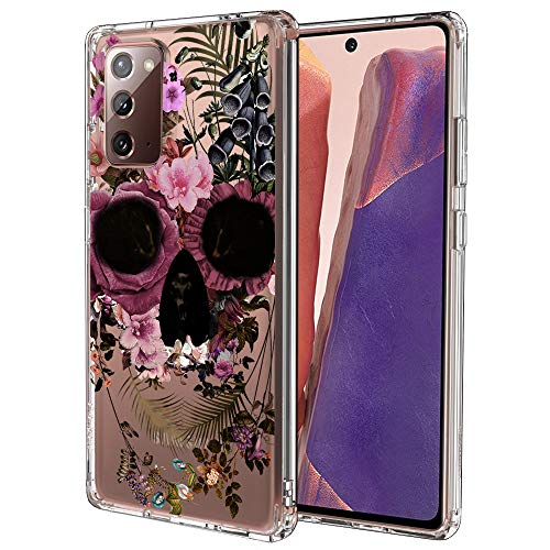 MOSNOVO Galaxy Note 20 Case,Galaxy Note 20 5G Case, Floral Skull Slim Clear Case with Design Shockproof TPU Bumper Protective Cover Case for Samsung Galaxy Note 20
