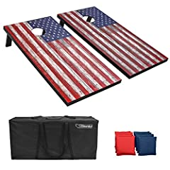 PATRIOTIC FUN: Game set includes 2 premium water-resistant 4 inches x 2 inches foldable cornhole boards crafted from solid MDF, 8 all-weather regulation bean bags, portable carrying case and rules RUSTIC AMERICAN DESIGN: Vintage inspired cornhole boa...