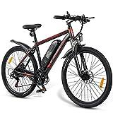 JINGJIN Bicicleta eléctrica eléctrica, Bicicleta eléctrica de 26 Pulgadas, 350 W, con batería de Iones de Litio 36V10AH, para Hombre y Mujer Kilometraje en Modo Pas 40-80 km/h,Black