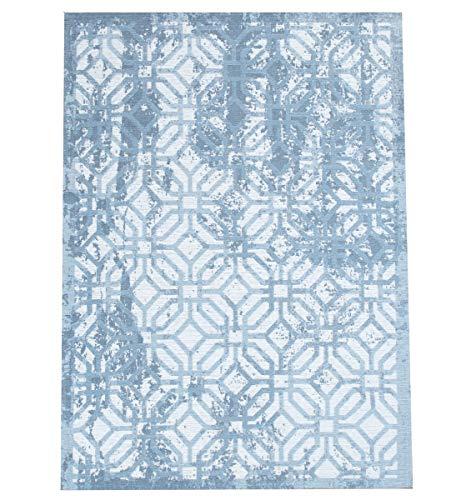 havatex Flachgewebe Teppich Ina geometrisch 1 - Grau oder Blau | bei 30° waschbar | Design modern mit Vintage Akzenten | hochwertiger Fasermix Polyester & Baumwolle, Farbe:Blau, Größe:120 x 170 cm
