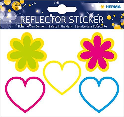 HERMA 19196 Reflektor Aufkleber mit Herz + Blumen Motiven, selbstklebende Leuchtaufkleber für Kinderzimmer, Dekoration, Fahrrad, Fahrradhelme und Koffer, 5 Reflektorsticker für Kinder