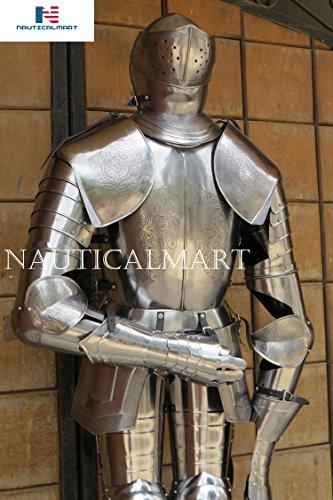 NAUTICALMART Disfraz de caballero de armadura de talla medieval grabada en espaol, para Halloween