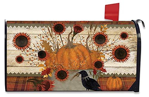 Briarwood Lane Primitive Pumpkins Autumn Magnetic Mailbox Cover Sunflowers Fall