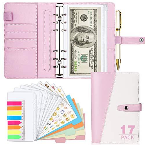 Budget Binder, Cash Envelopes for Budgeting, A6 Binder with Stylish Design, Budget Binder with Cash Envelopes, Refillable Loose-Leaf Binder Cover for Budget Planner Personal Organizer(Pink)