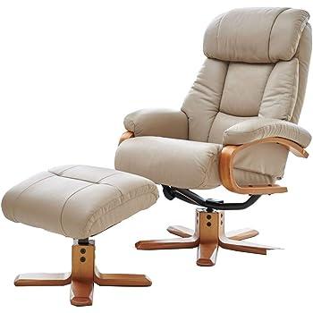 GFA Hereford Genuine Leather Cream Swivel Recliner Chair
