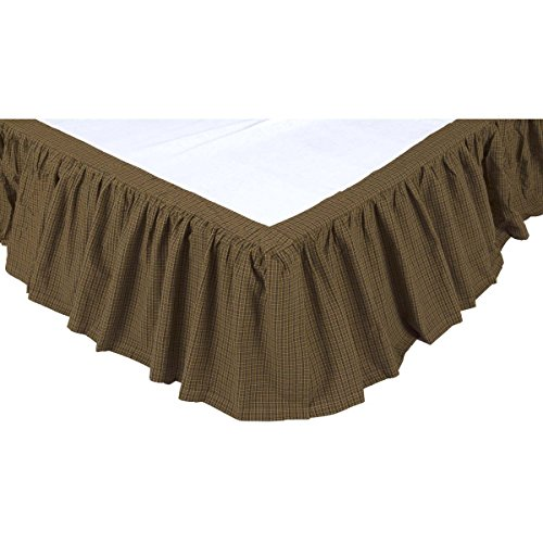 VHC Brands Tea Cabin Queen Bed Skirt 60x80x16 Country Rustic Bedding Accessory, Moss Green