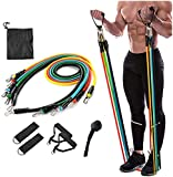 ADTALA Latex Material Resistance Bands 11 pcs Set of Exercise Bands Include 5 Different Levels Exercise Bands,Door Anchor,Foam Handles&Carrying Bag-Workout Resistance Tube
