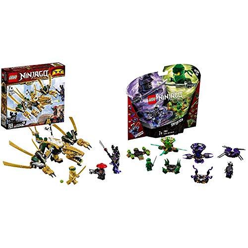 LEGO Ninjago - Dragón Dorado Set de Ninjas Creativo de Juguete para Construir (70666) + Ninjago Spinjitzu Lloyd vs. Garmadon - Peonzas de Ninjas de Juguete