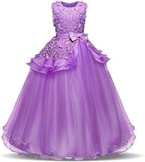 YLQ 子供のパーティーボールガウンのウェディングブライドメイドのドレスの女の子ノースリーブの刺繍の花の王女のページェントドレス蝶ネクタイサッシチュチュ誕生日パーティーマキシドレス (色 : 紫の, サイズ : 150)