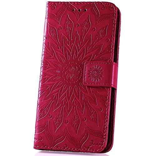 Surakey kompatibel mit Xiaomi Mi A2 Lite Hülle Leder Flip Hülle Wallet Tasche Handyhülle Mandala Blumen Muster Flip Cover Brieftasche Etui Schutzhülle Handytasche Ständer für Xiaomi Mi A2 Lite,Rose Rot