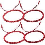Braccialetto Tibetano Portafortuna CHEPL 4 Pezzi Braccialetti Fatti a Mano in Corda Regolabile Braccialetti con Cordino Rosso per Uomini e Donne (2 Colori)