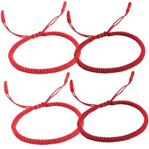 Pulsera Tibetana Hilloly 4 Piezas Pulsera de Hilo Rojo Hechas a Mano Ajustable Rojo Pulseras Trenzadas para Mujeres Hombres Amante Regalo de San Valentín (2 Colores)