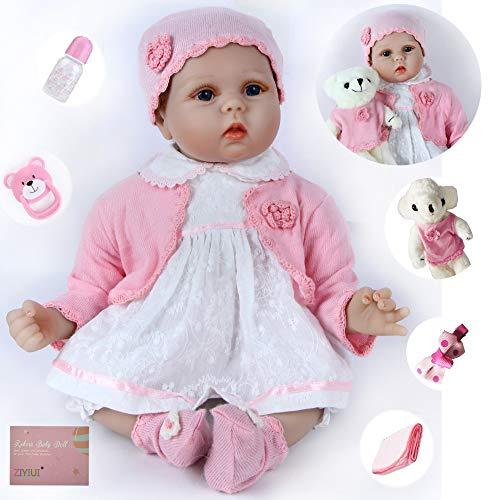 ZIYIUI Hecho a Mano 55 cm 22 Pulgadas Muñeca Reborn Vinilo de Silicona Suave Reborn Muñecas Bebé Recién Nacido Regalo de Juguete Muñecos Bebé