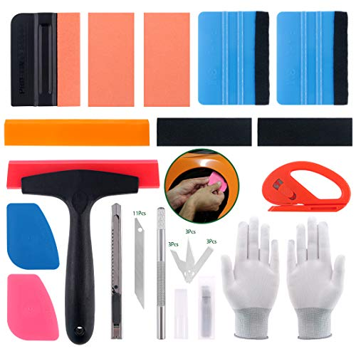 Keadic 35Pcs Car Wrap Vinyl Vehicle Film Tool Kit with Silicone Rubber Squeegees, Zippy Vinyl Cutter, Film Scrapers, Gloves, 2 Kinds of Squeegee Felts, Utility Knife and Blades