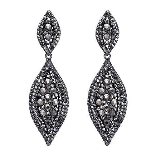 Flyonce Women's Rhinestone Crystal Wedding Bridal 2 Leaf Drop Dangle Chandelier Earrings Light Black Black-Tone